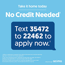 No Credit Needed lease-to-own program with Acima